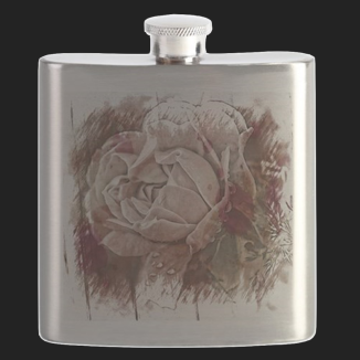 Prints | Flasks | Textured White Rose